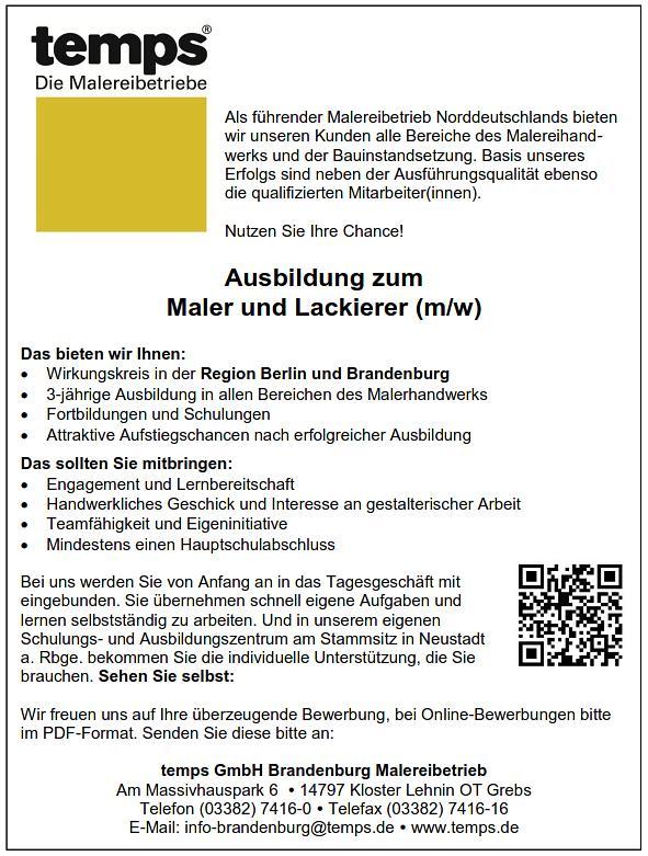 Ausbildung Zum Maler Und Lackierer Mw Temps Gmbh Malereibetriebe
